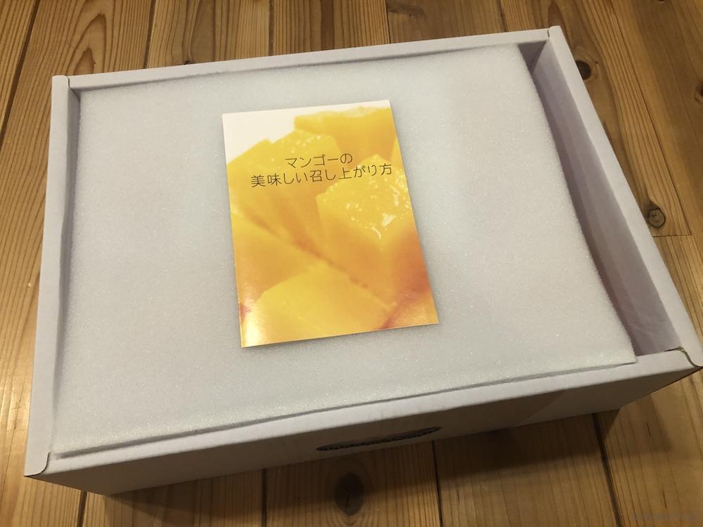 箱をあけるとマンゴーの美味しい召し上がり方という冊子まで入っていた
